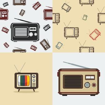 Antiga ilustração de rádio e televisão