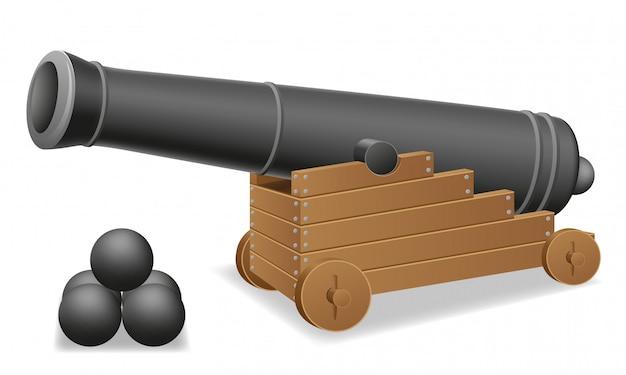 Antiga ilustração em vetor de canhão