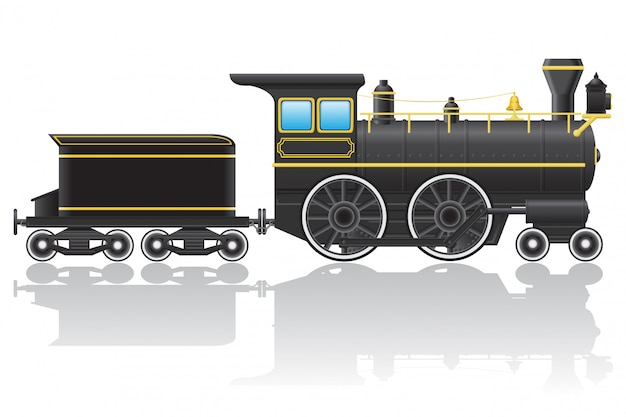 Antiga ilustração em vetor locomotiva retrô