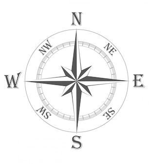 Antiga ilustração vetorial de rosa dos ventos