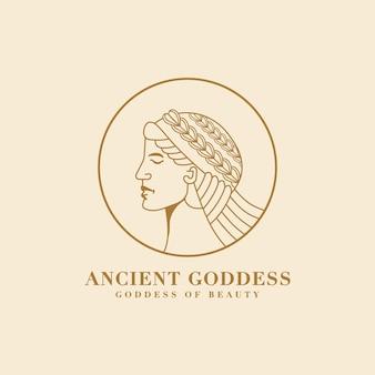 Antiga monoline afrodite, deusa grega da beleza e logotipo do rosto do amor para marca de ioga em salão de spa