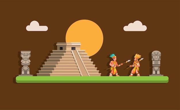 Antiga pirâmide maia asteca com guerreiro
