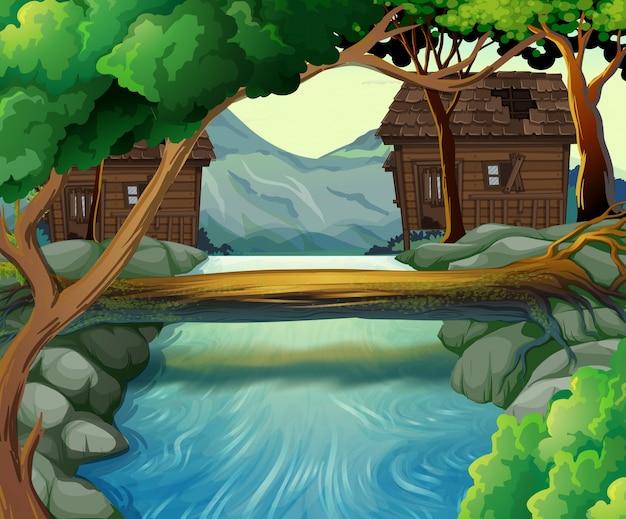 Antigas cabanas junto ao rio
