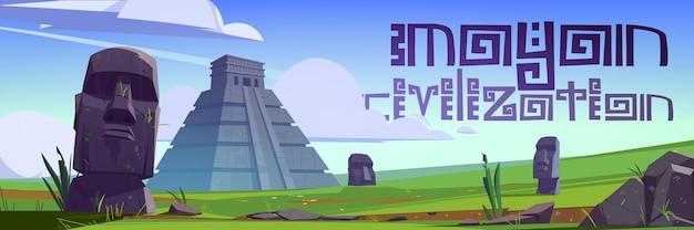 Antigas pirâmides maias e estátuas moai na ilha de páscoa