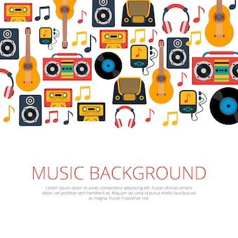Antigas, retro, música, vinil, registros, cd, cassete, jogadores, e, notas, símbolos