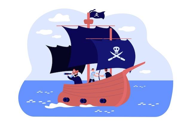 Antigo barco pirata com caveira sobre bandeira preta e tela, capitão e marinheiros no convés navegando em alto mar