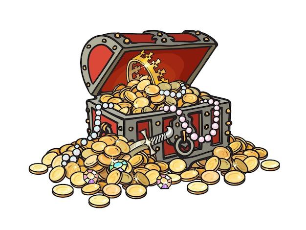 Antigo baú de tesouro de madeira cheio de moedas de ouro e joias