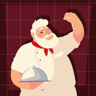Antigo chef com ilustração vetorial de restaurante profissional trabalhador de bandeja