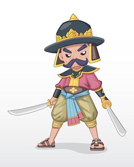 Antigo comandante da barba tailandês em pé segurando a ilustração da espada dupla