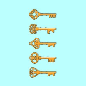 Antigo conjunto de vetor chave vintage