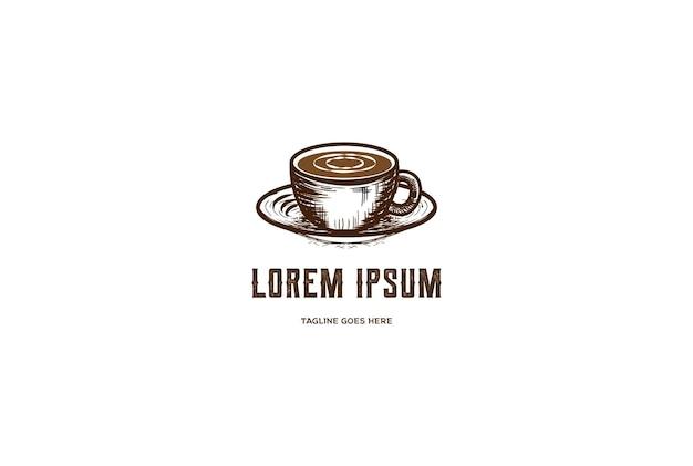 Antigo copo de caneca de café rústico para cafe restaurant bistro logo design vector