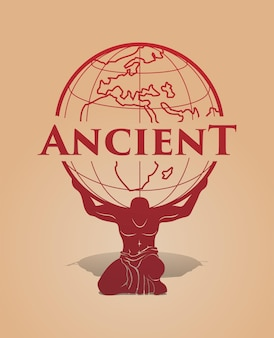 Antigo deus grego da atlântida e musculoso segurando o globo terrestre nos ombros com grande poder