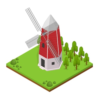 Antigo edifício de moinho de vento tradicional com vista isométrica da paisagem e da planta