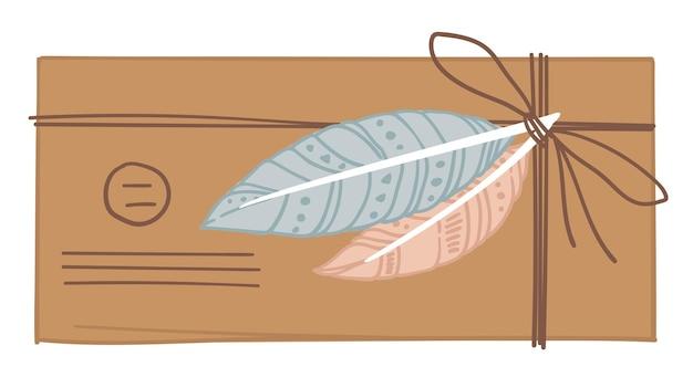 Antigo envelope rústico amarrado com linha e decorado com penas coloridas. correspondência vintage e adorno para cartas. portes e documentos enviados por correio. ilustração vetorial em estilo simples