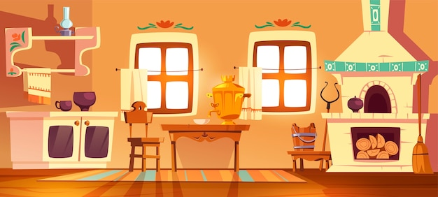Antigo forno de cozinha russa rural, samovar, mesa, cadeira e punho. interior de desenho vetorial de uma casa tradicional ucraniana com fogão, móveis de madeira, vassoura e lâmpada a óleo