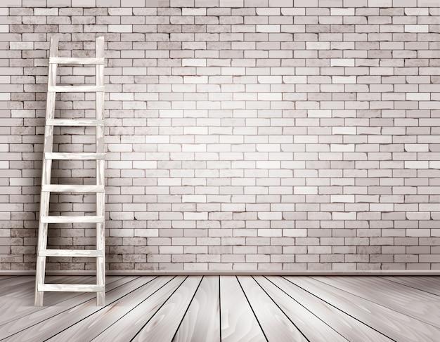 Antigo fundo de parede de tijolo branco com escada de madeira.