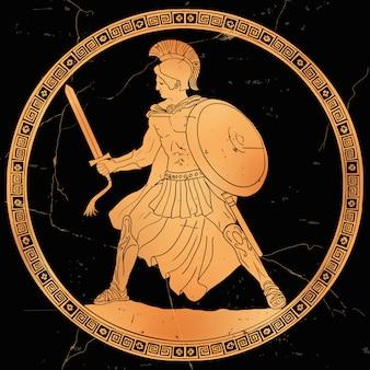 Antigo guerreiro grego com uma espada e um escudo nas mãos em batalha.