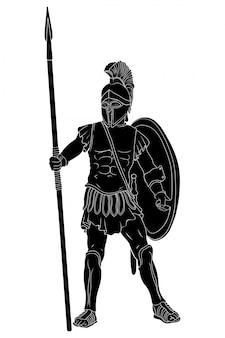 Antigo guerreiro grego em armadura e um capacete com uma arma na mão está pronto para ataque e defesa