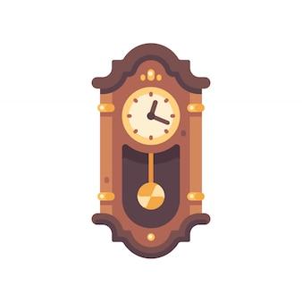 Antigo ícone plana do relógio de pêndulo de madeira. ilustração de mobiliário antigo.