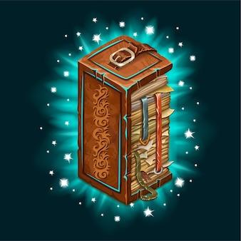 Antigo livro de feitiços com luz de fundo.