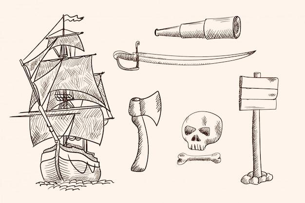 Antigo navio à vela e itens de pirata. desenho de mão simples.