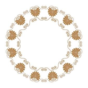 Antigo ornamento grego redondo borda, vetor e quadro de ilustração