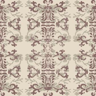 Antigo padrão barroco gasto vintage padrão sem emenda em estilo vitoriano fundo velho gasto