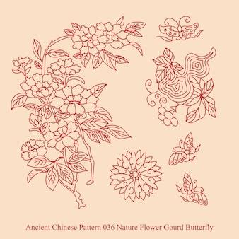 Antigo padrão chinês da natureza flor borboleta cabaça