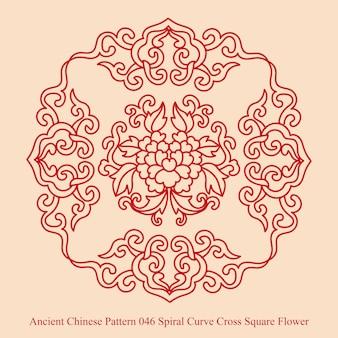 Antigo padrão chinês de curva espiral cruz flor quadrada