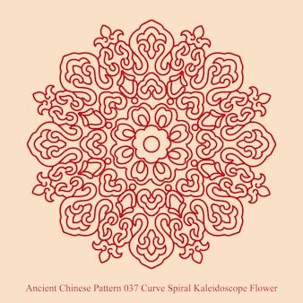 Antigo padrão chinês de flor caleidoscópio curva em espiral