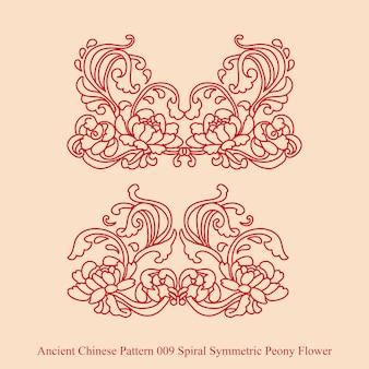 Antigo padrão chinês de flor de peônia espiral simétrica