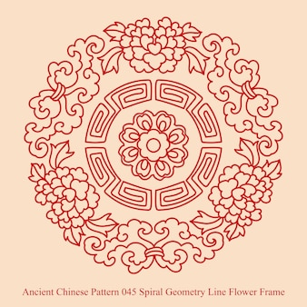 Antigo padrão chinês de geometria em espiral, moldura de flores