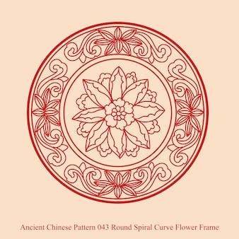 Antigo padrão chinês de moldura de flores em espiral redonda