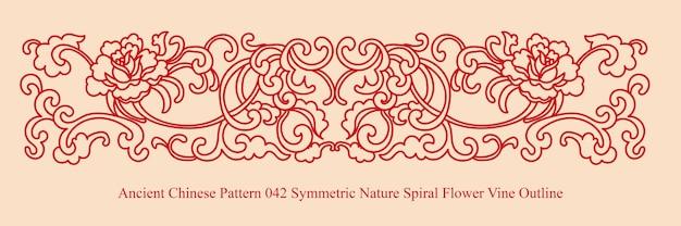 Antigo padrão chinês de natureza simétrica espiral flor videira contorno