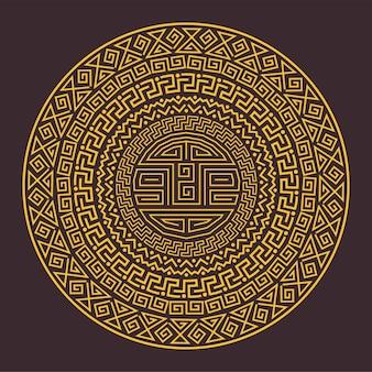 Antigo padrão étnico redondo e ornamental dos maias, astecas ou outros povos