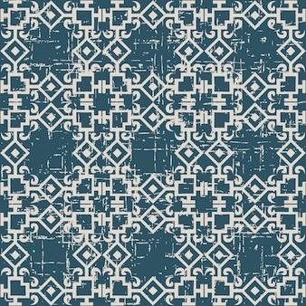 Antigo padrão sem costura desgastado com corrente quadrada