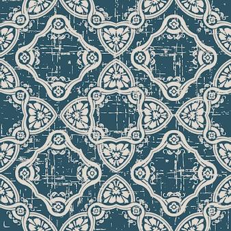 Antigo padrão sem costura desgastado com flor