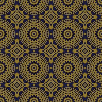 Antigo padrão sem emenda redondo flor cruzada linha de pontos