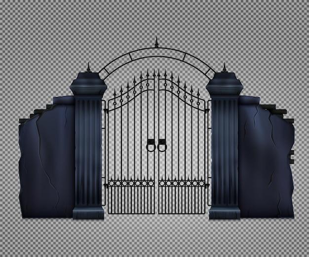 Antigo portão de cemitério gótico escuro
