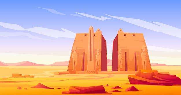 Antigo templo egípcio com estátua e obelisco