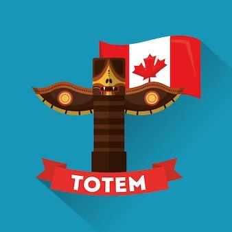 Antigo totem canadense cultura tradicional folclore