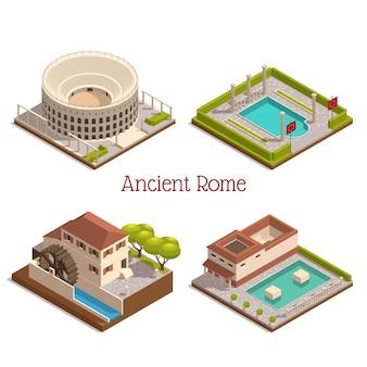 Antigos marcos de roma 4 composição isométrica com colunas colosseum forum tabularium ruínas ilustração de roda de moinho de água de madeira