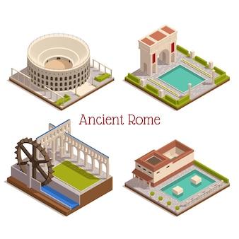 Antigos marcos de roma 4 composição isométrica com ilustração da roda do moinho de madeira do arco do triunfo do fórum do tabularium do coliseu