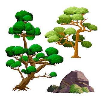 Antigos objetos de cultura de japão com árvores decorativas de jardim, ilustração em vetor de pedra, arbusto e ikebana. coleção de conjunto de vetores de japão.