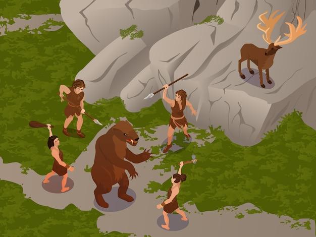 Antigos povos usando armas de caça primitivas