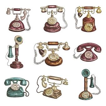 Antigos telefones retro vintage com receptores, mostradores, fios.