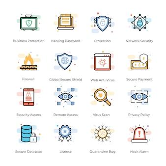 Antivírus e coleção de ícones de segurança
