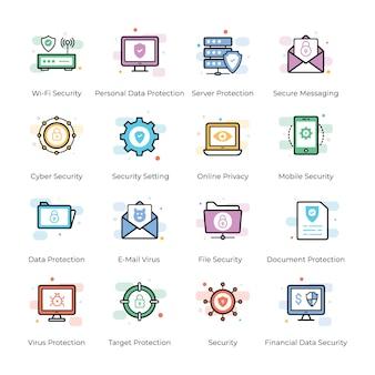 Antivírus e conjunto de ícones de segurança