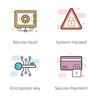 Antivírus e ícones planos de segurança