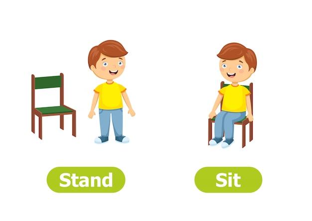 Antônimos e opostos do vetor. ilustração de personagens de desenhos animados. fique de pé e sente
